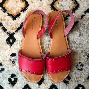 American Eagle Red Leather Studded Sandal Size 9